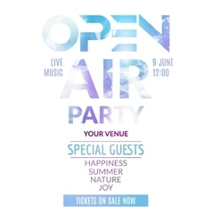 open air party template design air poster vector image