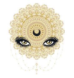 Ornamental lotus flower all-seeing eye vector