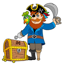 pirate with old treasure chest vector image