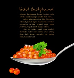 Red caviar with parsley and a spoon on a black bac vector