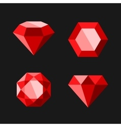 Red Diamond or Ruby Icons Set vector