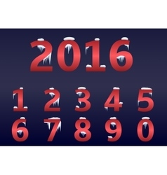 Red number set vector image