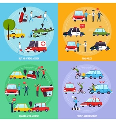 Road Accident Concept Icons Set vector