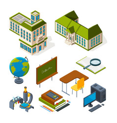 school and education isometric back to school 3d vector image