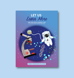 Science poster design with microscope astronaut vector