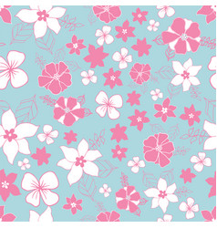 seamless repeat floral pattern in pink and blue vector image