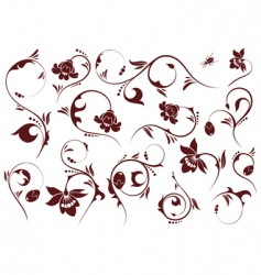 set floral element vector image
