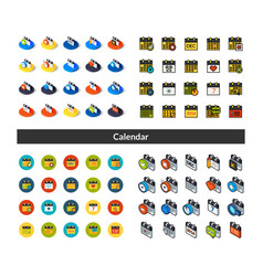 set icons in different style - isometric flat vector image