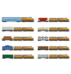 set icons railway train 01 vector image