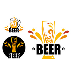 Set logo beer shop vector