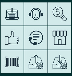 Set of 9 commerce icons includes telephone vector