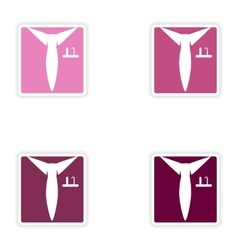 Set of paper stickers on white background shirt vector