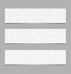 set puzzle jigsaw cards flyers or brochures vector image