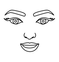 Silhouette drawing of woman face with open eyes vector