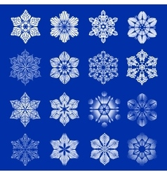 Snowflake icons set simple style vector image