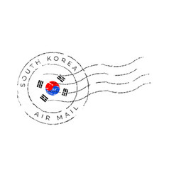 South korea postage mark national flag postage vector