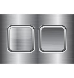 Square buttons metal brushed texture vector