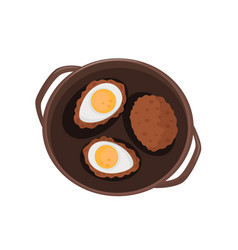 Steaks with eggs fried eggs and cutlet vector