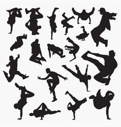 Street dance silhouettes vector
