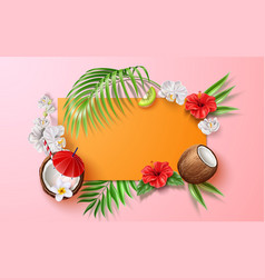 summer poster tropical leaves flower fruits vector image