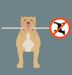 The dog holds a road sign in his teeth flat vector