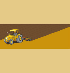Tractor plows land agricultural farming field vector