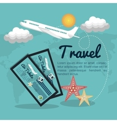 Travel airplane tickets design vector