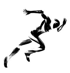Trendy stylized movement running man chinese vector