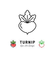 Turnip icon vegetables logo thin line art design vector