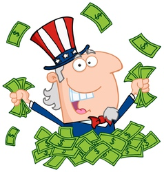 uncle sam playing in a pile of cash vector image