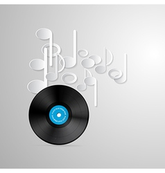 Vinyl record discs and paper notes on grey vector