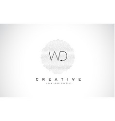 Wd w d logo design with black and white creative vector