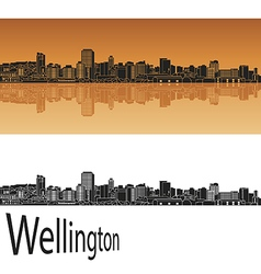 Wellington skyline in orange vector image