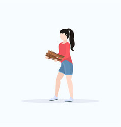Woman hiker holding firewood for bonfire hiking vector