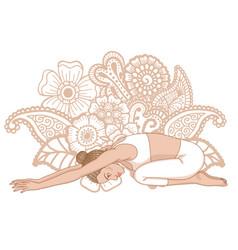 Women silhouette child s yoga pose balasana vector
