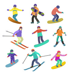 young people ride downhill in winter sports vector image