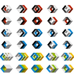 abstract 3D square icons vector image