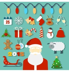 Christmas concept with flat icons and Santa vector image vector image
