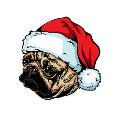 christmas greeting card breed dog pug wearing a vector image vector image