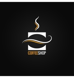 coffee cup with bean logo background vector image vector image