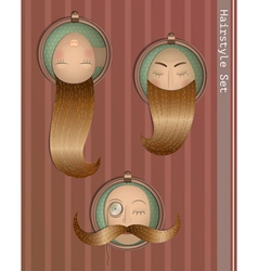 hairstyle vintage set in frames vector image