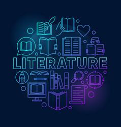 literature round blue vector image
