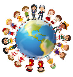children from many countries around the world vector image vector image