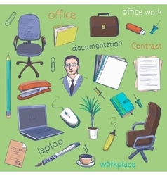 Concept of creative office room interior workspace vector image