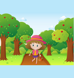 little girl walking in apple orchard vector image