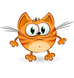 Sad cartoon cat vector image vector image