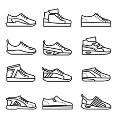 Sneakers running shoes thin line icons set vector image vector image