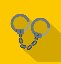 steel handcuffs icon flat style vector image