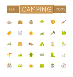 Flat Camping Icons vector image vector image