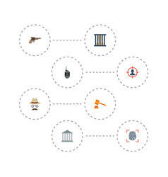 flat icons jail building revolver and other vector image vector image